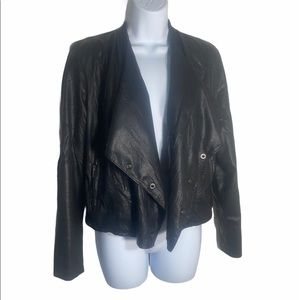 Blank NYC Faux Leather Drape Front Jacket M